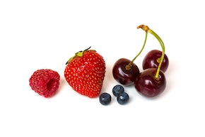 Raspberry, strawberry, blueberries and cherries